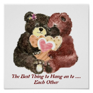 Cute Teddy Bear Love, Hearts and Hugs Quote Posters