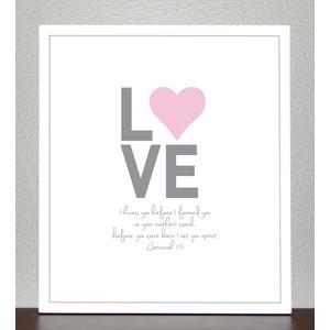 Baptism Gift - Nursery Decor - LOVE - bible verse ( pink and gray )- J ...