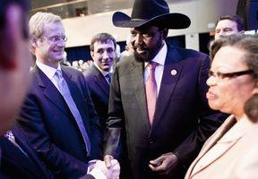 South Sudan President Salva Kiir Mayardit greets the European co ...