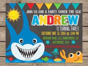 Under The Sea Chalkboard Invitation Birthday Invite PRINTABLE Summer ...