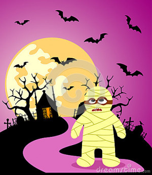 Halloween Cemetery Background With Mummy Stock Vector Denis