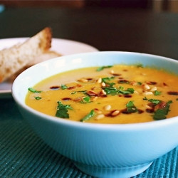Sweet Winter Vegetable Soup With A Tangy Garnish Of Balsamic Vinegar ...