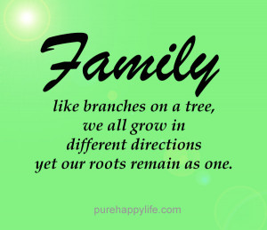 Family Quote: Family like branches on a tree, we all grow in different ...