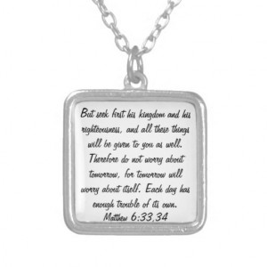Don't worry about tomorrow bible verse necklace