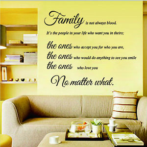 Family-Is-Not-Always-Blood-Quote-Wall-Sticker-Decals-Vinyl-Mural-Room ...