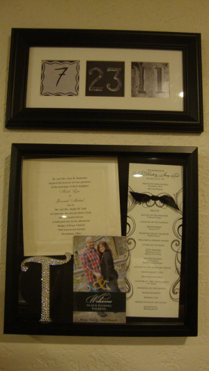 Inside the shadow box is an invitation to my wedding, church program ...