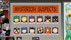 Professor Chaos's wall of Mysterion suspects.