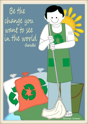 ecologic illustration of a man cleaning the earth, quote by Gandi