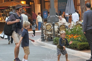 "Matt Bomer takes two of his sons to see the movie ""Hotel ..."