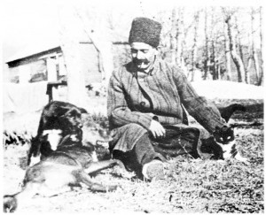 George Gurdjieff and his dogs. early 20th century.