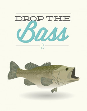 Drop the Bass Poster art decor cooking fish fishing by noodlehug