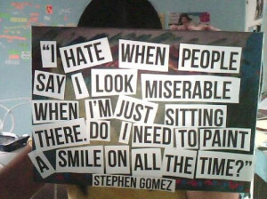 miserable, quote, sit, smile, text, words