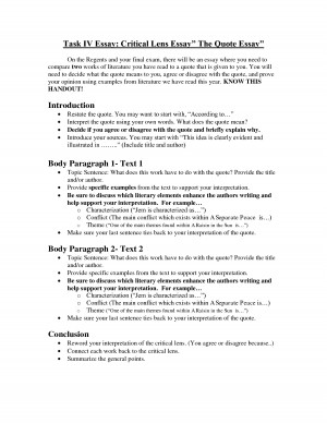 Task IV Essay Critical Lens Essay The Quote Essay by MikeJenny