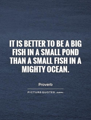 ... in a small pond than a small fish in a mighty ocean Picture Quote #1