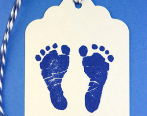 ... Baby Feet Stamp Tags, Footprints, Baby Footprint Stamp, Blue Baby