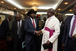 President Salva Kiir Mayardit, asked for a blessing for the new ...