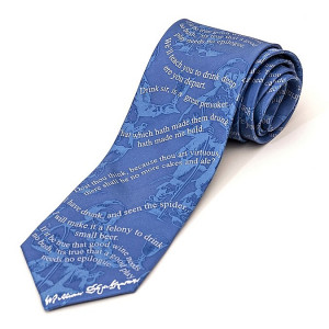 Silk Tie with Shakespeare Drinking Quotes