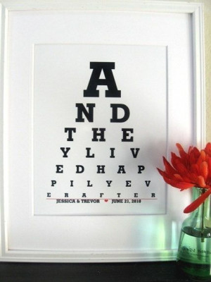 Typography Poster, Inspirational Quote Print (And they Lived Happily ...