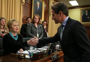 Kay Granger U S Secretary of the Treasury Timothy Geithner R greets