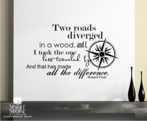 Wall Decals Quote Road Less Traveled (Robert Frost) - Vinyl Text Wall ...
