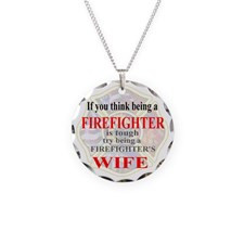 Firefighters wife. Necklace Circle Charm for