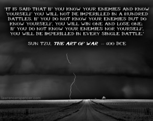 ... know yourself you will not be imperiled in a hundred battles Sun Tzu