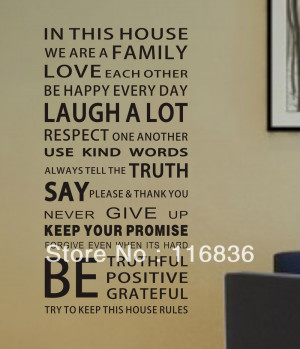 !!! Large 110x55cm Family House Rules Modren Romantic Word Quote ...