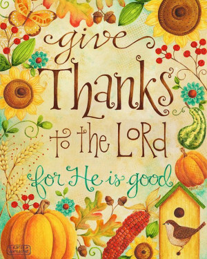 ... Thanks to the Lord 8x10 Art Print Christian Bible Verse Thanksgiving
