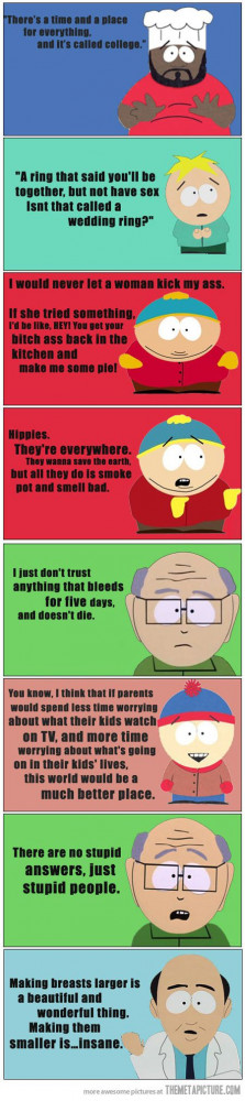 from the show South Park. These characters portray satire funny ...