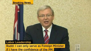 Kevin Rudd resigns as foreign minister