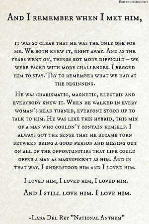 Jackie Kennedy Onassis on her undying love for JFK . Lyrics : National ...