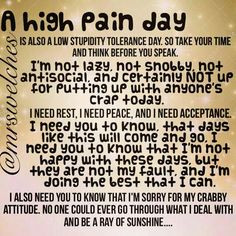 Being in pain makes anyone crabby, especially those of us with chronic ...