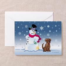 Funny Snowman and Brown Lab dog Greeting Cards (Pk for