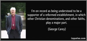 on record as being understood to be a supporter of a reformed ...