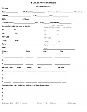 AUTO QUOTE SHEET AUTO QUOTE SHEET by MikeJenny