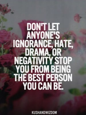 Don't Let Anyone's Ignorance, Hate, Drama, Or Negativity Stop You ...