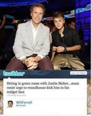 will ferrel and justin bieber, funny twitter quotes