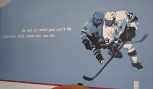 ... hockey rink, NY Rangers logo, hockey mural and quotes round out the