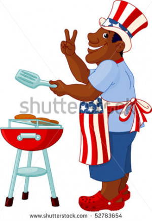 Funny Man with Uncle Sam Hat cooking A Hamburgers On A Barbecue Bbq ...