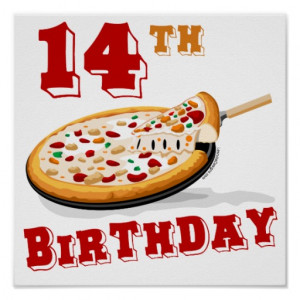 14th Birthday Pizza Party Posters