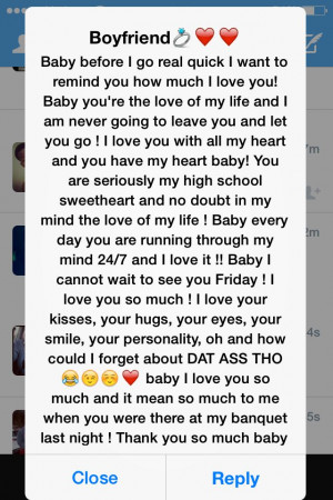 long Cute texts I get from him make my day so amazing