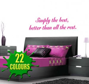 Magenta Simply The Best 2 (Tina Turner) Lyric wall decal above a ...