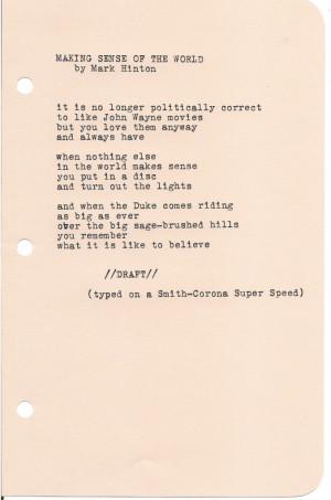 "Poem: ""Making Sense of the World"" by Mark Hinton"