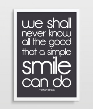 Mother Teresa Print - Happiness Quote Poster - Smile - Typography ...