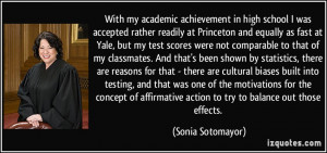 With my academic achievement in high school I was accepted rather ...