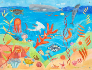 Kids Canvas Mural with Ocean World Theme