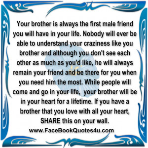 Your brother is always the first male friend you will have in your ...