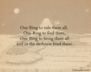 one ring to rule them all one ring to find them one ring to bring them ...