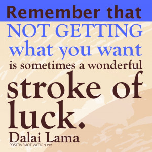 ... you want is sometimes a wonderful stroke of luck.DALAI LAMA QUOTES