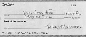Example of an Abundance Cheque